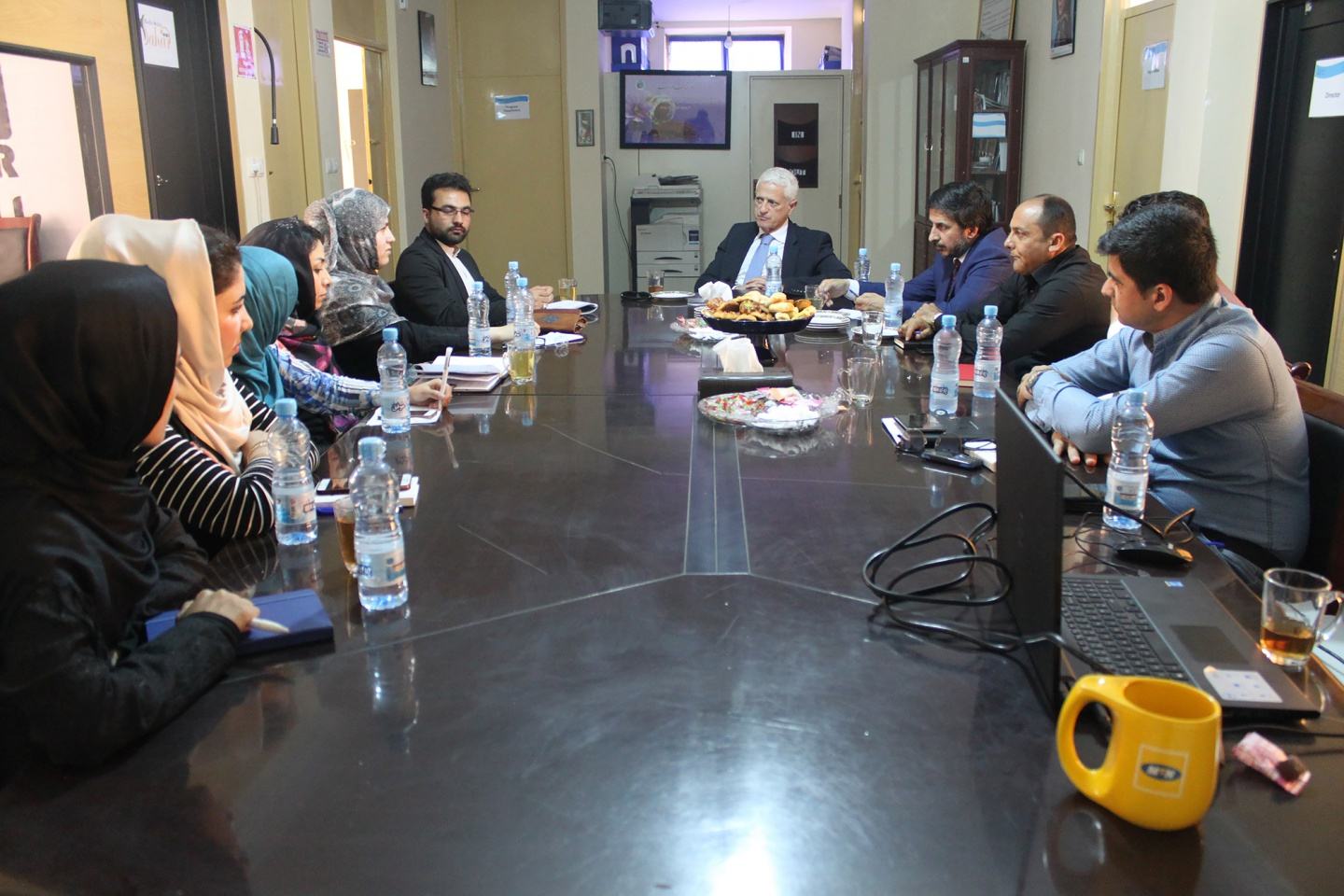 Democracy International delegation meeting with WASSA staff